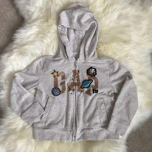 GAP KIDS 4-5y Embroidered Light Grey Hoodie Jacket